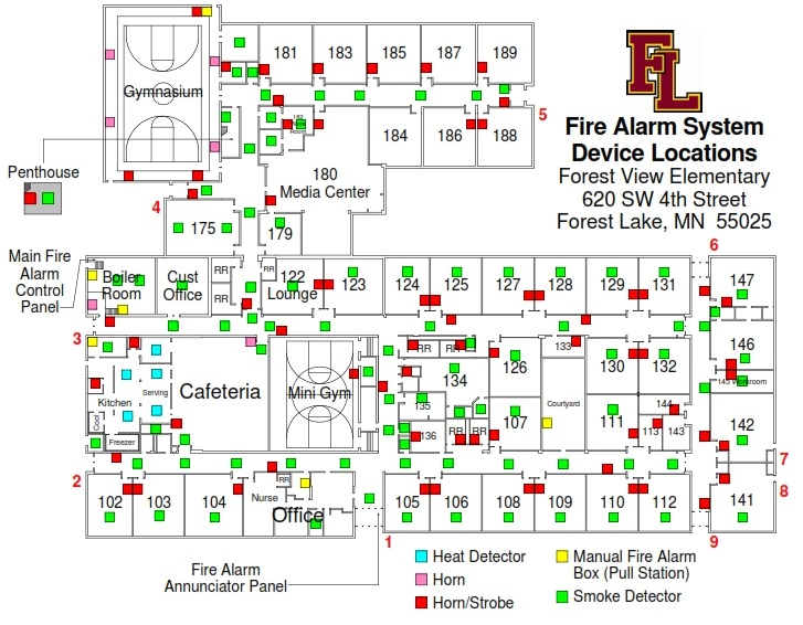 Forest View Elementary Fire Alarm System Device Locations_001 diagrams 498224 class a fire alarm wiring diagram how does fire alarm system wiring diagrams at aneh.co