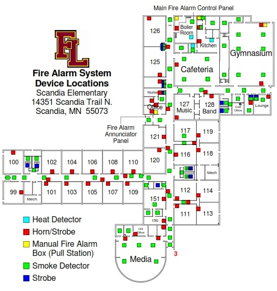 SCANDIA ELEMENTARY-FIRE ALARM SYSTEM DEVICE LOCATIONS