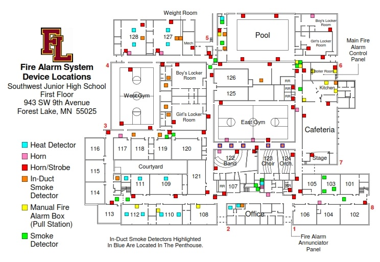 SW JUNIOR HIGH-FIRE ALARM SYSTEM DEVICE LOCATIONS LEVEL 1